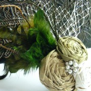 Willow- Dupioni Silk Rosette Feather Fascinator