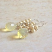 Dazzle Freshwater Pearl, Lemon Quartz and Sterling Silver Lever Back Earrings