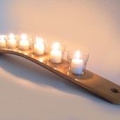 The Galaxy, Finest Oak Wine Barrel Stave Candle Holder 5 or 7 candles