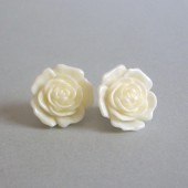 Gardenia Flower Button Style Sterling Silver Post Earrings