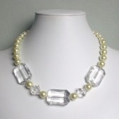 Grandeur Glass Pearl, Acrylic, and Silver Tone Statement Necklace