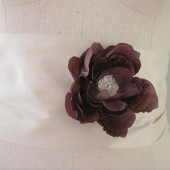 Silk flower brooch with alencon lace center