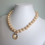 Kismet Freshwater Pearl, Swarovski Crystal and Sterling Silver Necklace