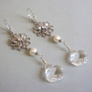 Legacy Swarovski Crystal, Freshwater Pearl and Sterling Silver Statement Earrings