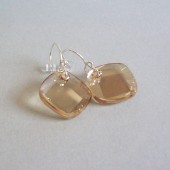 Metro Champagne Swarovski Crystal and Sterling Silver Earrings