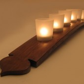 The Pagoda, Finest Oak Wine Barrel Stave Candle Holder 5 or 7 candles