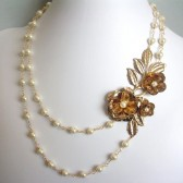 Splendor Glass Pearl, 14K Gold Plated and Gold Tone Floral Necklace
