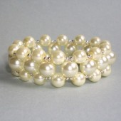 Surround Ivory Glass Pearl Stretch Cuff Bracelet