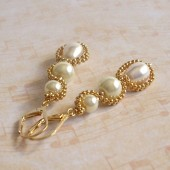 Twist Glass, Pearl, Swarovski Pearl and 14 K Gold Plated Earrings