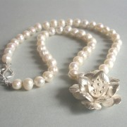 Unforgettable Freshwater Pearl, Sterling Silver and Fine Silver Flower Necklace