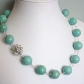 Vivacious Turquoise Blue Magnesite, Swarovski Crystal Flower and Sterling Silver Statement Necklace