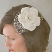 Brella - silk flower with vintage brooch center and french netting