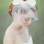 Sugar Baby - silk bow paired with bridal tulle birdcage veil