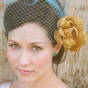 Josephine II- double gold silk flower fascinator with birdcage veil