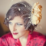 Birdcage veil with handmade flowers & vintage jewelry accents
