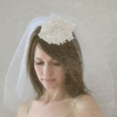 Ava - illusion shoulder length veil with alencon lace headpiece