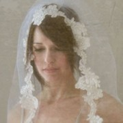 Grace - alencon lace trimmed shoulder length veil