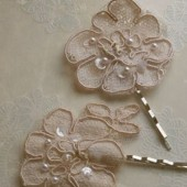 Lacey and Posey - alencon lace hair pins