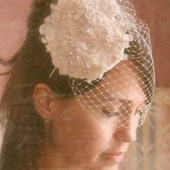 LOVELY - alencon lace tear drop bridal hat