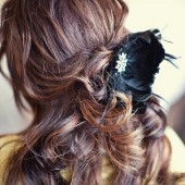 Retro black feather fascinator