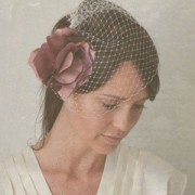 Leland - small silk flower with birdcage veil