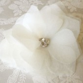 Organza flower with rhinestone center