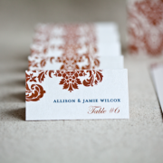 copper & teal wedding escort cards