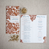 copper & teal wedding programs