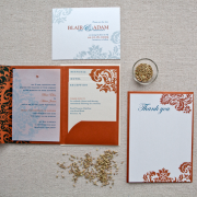 copper & teal wedding invitation