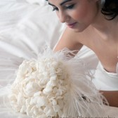 bridal bouquet with matching hair flower and shoes clips