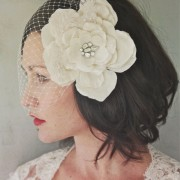 Monique - handmade silk flower with vintage brooch center