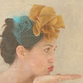 Josephine - turquoise silk flower fascinator with birdcage veil