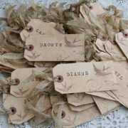 hand-stamped place cards