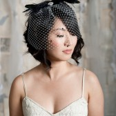 black and white birdcage veil by Tessa Kim