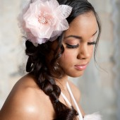 Double blush fascinator by Tessa Kim