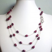 Grace Cranberry Freshwater Pearl and Sterling Silver Necklace