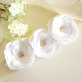 Soft white satin flower sash