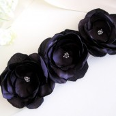 Dark plum flowers sash