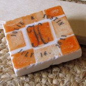 Orange Mosaic Monogram Wedding Favors