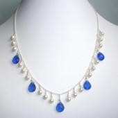Blaze Swarovski Crystal, Blue Crystallized Glass and Sterling Silver Necklace