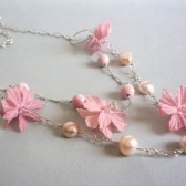 Tickled Freshwater Pearl, Rhodochrosite, Silk Flower and Sterling Silver Statement Necklace