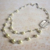 Vision Glass Pearl and Silver Tone Necklace