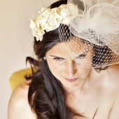 Couture Dupioni Silk Flower Cluster Headband with Tulle and Russian Veiling