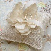 silk flower burlap ring pillow