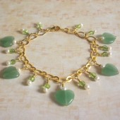 Assure Green Aventurine, Freshwater Pearl, Czech Glass and 14K Gold-Plated Charm Bracelet