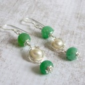Awaken Freshwater Pearl, Crab Fire Agate and Sterling Silver Earrings