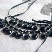 Bewitching Czech Glass, Satin Ribbon and Silver Tone Necklace