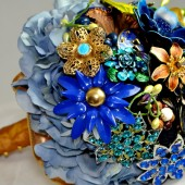 Navy Blue Brooch Bouquet