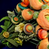Orange Ranunculus Button Bouquet