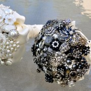 White & Black Brooch Bouquets